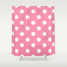 Polka Dots - White on Flamingo Pink Shower Curtain