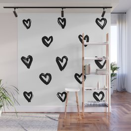 Hand Draw Hearts in Black on White Background Wall Mural