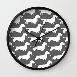 White Wirehaired Dachshund Silhouette Wall Clock