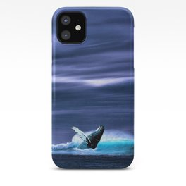 Blue whale breaking surface of ocean iPhone Case