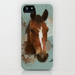 Brown and White Horse Watercolor Light iPhone Case