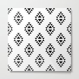 Linocut southwest minimal pattern black and white print scandinavian minimalism Metal Print