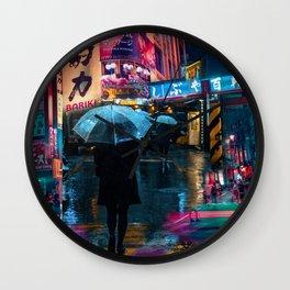 Japan street night Wall Clock