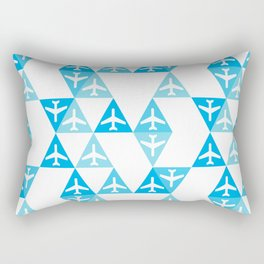 Geometric Planes Blue Rectangular Pillow
