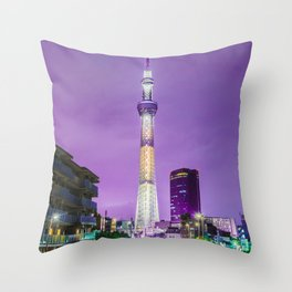 The Tokyo Skytree at night Throw Pillow
