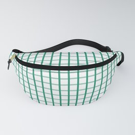 Small Elf Green on White Grid Pattern   Fanny Pack