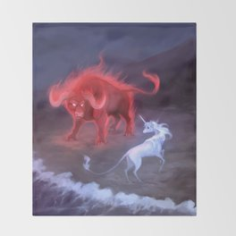 Unicorn and Bull Throw Blanket