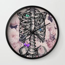Roses and a Skeleton Wall Clock