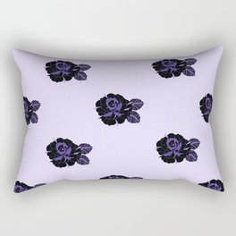 Black Rose Pattern Rectangular Pillow