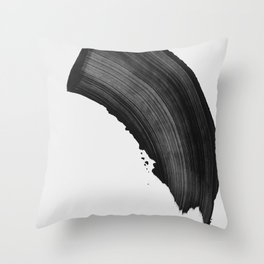 Black Brush Calligraphy Stroke Throw Pillow