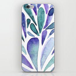 Watercolor artistic drops - purple and turquoise iPhone Skin