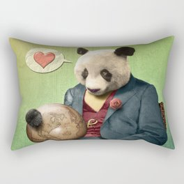 Wise Panda: Love Makes the World Go Around! Rectangular Pillow