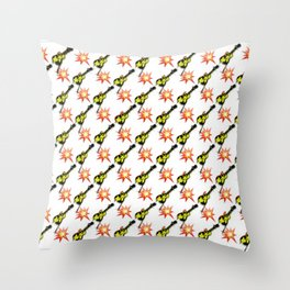 The Smashing Emoji Guitar Smash Official Throw Pillow
