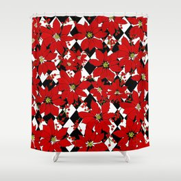 HARLEQUIN AND POINSETTIAS Shower Curtain