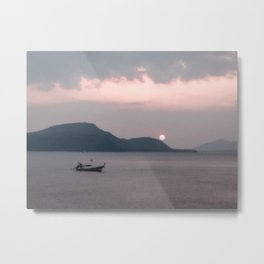 Abstract Sunset | Fishing Boat Island Pink Sky Rolling Hills Lake Water Landscape Photograph Metal Print