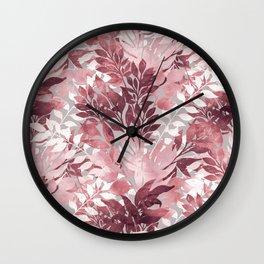 Summer Tropical Blush Pink Foliage Vintage Design Wall Clock