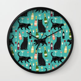 Black cat wine champagne cocktails cat breeds cat lover pattern art print Wall Clock