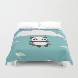 Kawaii Cute Panda In The Sky Duvet Cover
