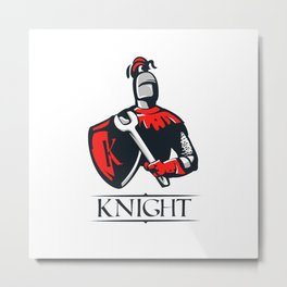 Cartoon plumber Knight Metal Print