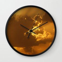 Golden Sunrise Clouds Wall Clock