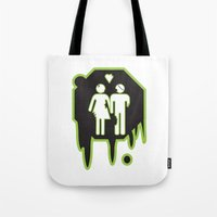 zombies Tote Bags featuring Zombies by JJ Fry