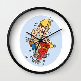 Construction Worker Jackhammer Drilling Cartoon Wall Clock