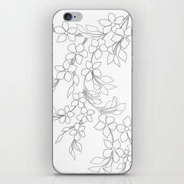 Minimal Wild Roses Line Art iPhone Skin