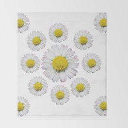 ALL WHITE SHASTA DAISY FLOWERS ART Throw Blanket