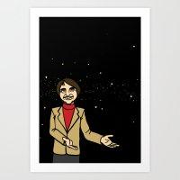 sagan Art Prints featuring Carl Sagan by Snarkasmic