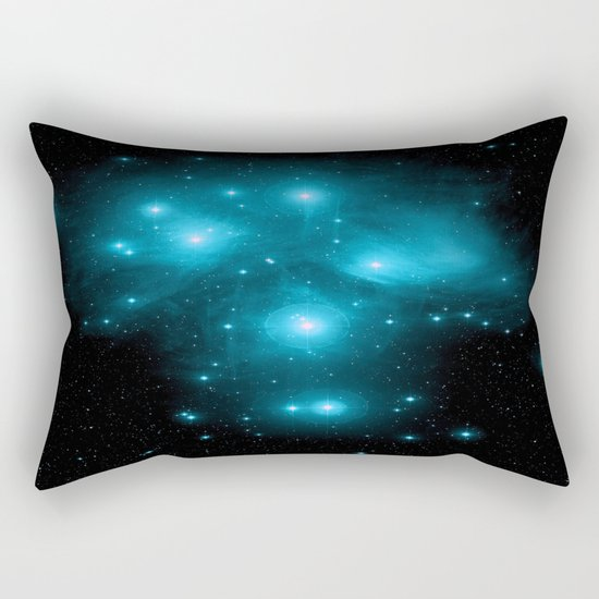 Turquoise Blue Galaxy: Pleiades Constellation Rectangular Pillow