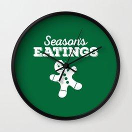Season's Eatings (evergreen) Wall Clock
