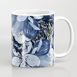 Navy Blue & Gold Watercolor Floral Coffee Mug