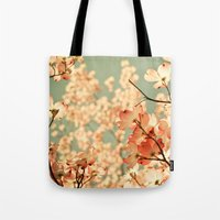 green Tote Bags featuring Pink by Olivia Joy StClaire