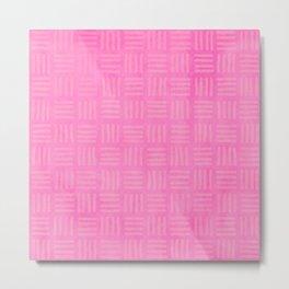 Tribal Thatch in Pink Metal Print