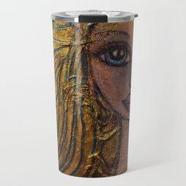 Golden Dawn Big Eyed Girl Female Portrait Painting by Garden Of Delights Travel Mug