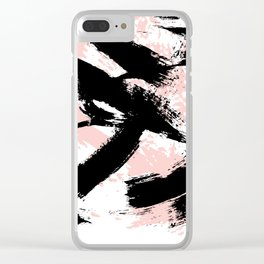Black Brush strokes Clear iPhone Case