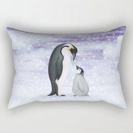 emperor penguins in the snow Rectangular Pillow