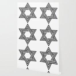 Six Stripe Hexagram Black and White Wallpaper