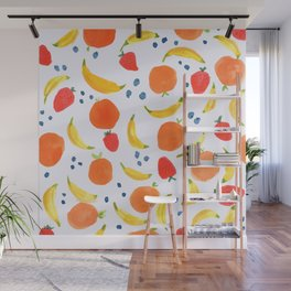 Fruit Pattern with Bananas Strawberries Blueberries Oranges Tropical Summer Florida Sweet Fruits Wall Mural