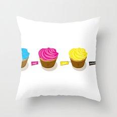 CMYK cupcakes Throw Pillow