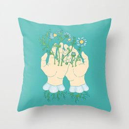 Human Flowering Throw Pillow