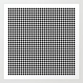 Classic Black & White Small Diamond Checker Board Pattern Art Print