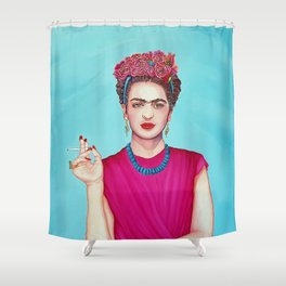 Frida wearing a band of flowers Shower Curtain