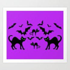 Cats Bats Halloween Pattern Art Print