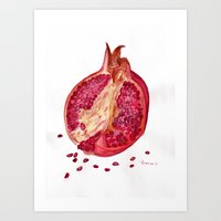 pomegranate Art Prints featuring Pomegranate by Lyubov Fonareva