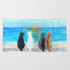Cat Beach Sunset Beach Towel