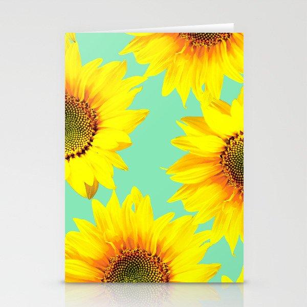 Sunflowers on a pastel green backgrond #decor #society6 #buyart Stationery Cards