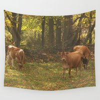 cows Wall Tapestries featuring Cows by Ashley Callan
