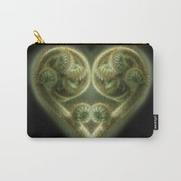 An unfurling Fern Frond is stylized into a Valentine's Heart Carry-All Pouch