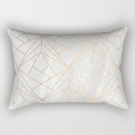 Gold Geometries on Marble Rectangular Pillow
